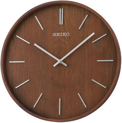 Seiko Maddox 13 Brown Ash Veneer Wooden Wall Clock QXA765BLH