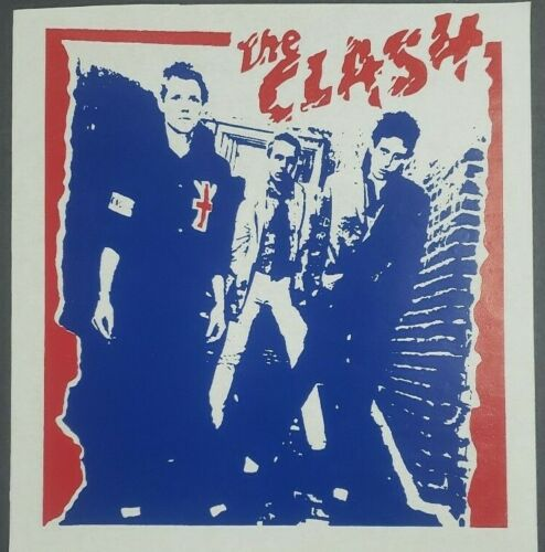 "The Clash Logo Iron On Heat Transfer Blue & Red 9.5""x10"" Punk Rock Band"