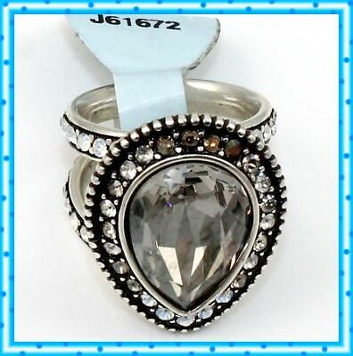 Brighton RAINDROPS Neutral Faceted Crystal Size 9 Ring NWT $74