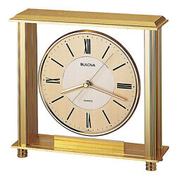 Bulova Grand Prix Executive Analog Quartz Brass Metal Desk Clock B1700