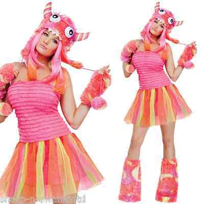 Ladies Sexy 4 Piece Pink Halloween Monster Rave - Sexy Rave Outfits
