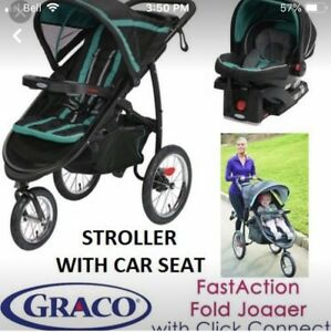 GRACO CITY JOGGER WITH CARSEAT AND BASE INCLUDED