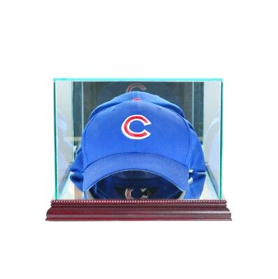 (NEW GLASS CAP HAT DISPLAY CASE WITH UV PROTECTION CHERRY WOOD AND MIRROR BACK)