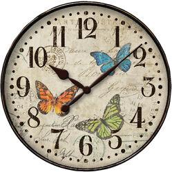 Westclox Quartz 12 Round Butterfly Wall Clock 32897BF