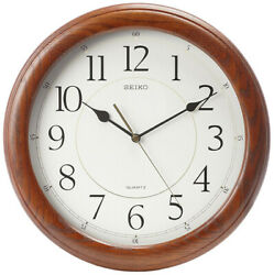 Seiko Yorkton 13 Quiet Sweep Dark Brown Solid Oak Case Wall Clock QXA129BLH