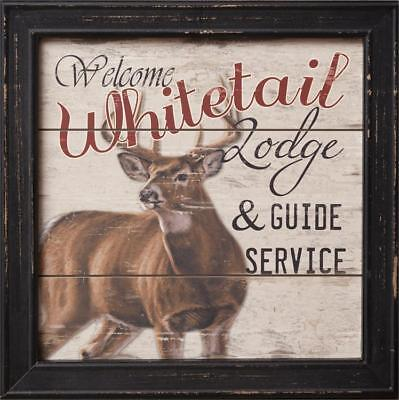 Rustic Lodge Deer - New Primitive Rustic Cabin Hunting Camp WHITETAIL LODGE Buck Deer Picture Sign
