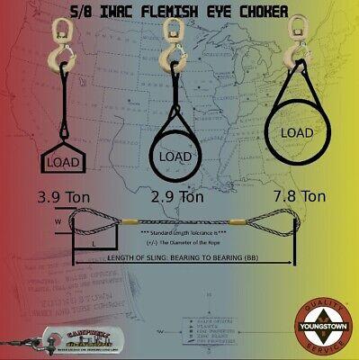 Choker Sling Wire Rope Steel Cable Flemish Eye 58 X 20 Iwrc Rigging Choker