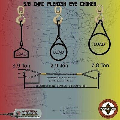 Choker Sling Wire Rope Steel Cable Flemish Eye 58 X 18 Iwrc Rigging Choker