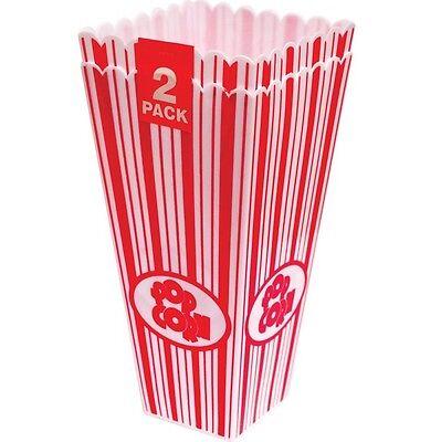 2 x 28cm Alto Popcorn Festa Supporti Cinema Film Dolce Dolcetto Pentola Vasca