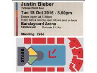 1 X Justin Bieber- Standing Ticket - Birminhgam - 18th October - Purpose World Tour