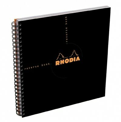 Rhodia Wirebound - Reverse Notebook - Black - Graph - 8.25 X 8.25 - New R193609