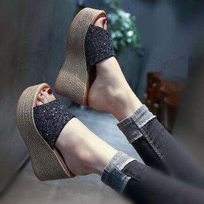 Sequins High Heel Platform - Womens Girls Platform Slippers Shoes Wedge High Heel Sequins Open Toe Sandals Sz