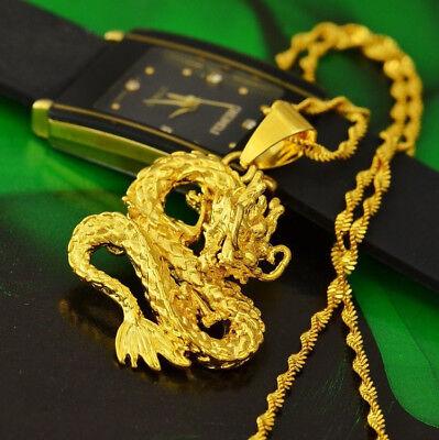 24K Yellow Gold Authentic Opulent Dragon Pendant   Link Chain Necklace D559