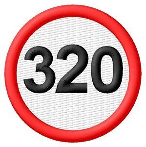 320 Speed Limit Limitation de vitesse ecusson brodé patche Thermocollant patch - <span itemprop=availableAtOrFrom>Poznan, Polska</span> - Zwroty są przyjmowane - Poznan, Polska