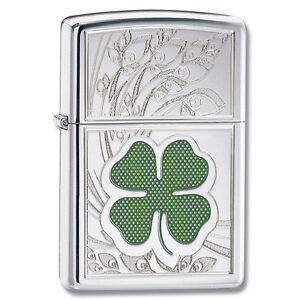 Zippo-4-Leaf-Clover-Luck-Lighter-High-Polish-Chrome-Low-Ship-24699