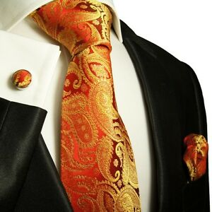 Elegant Red & Gold Paul Malone Paisley Tie Set  +695CH