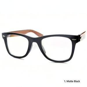 Retro-Natural-Red-Wood-Temples-Double-Rivets-BIG-Frame-Nerd-Glasses-Spectacles