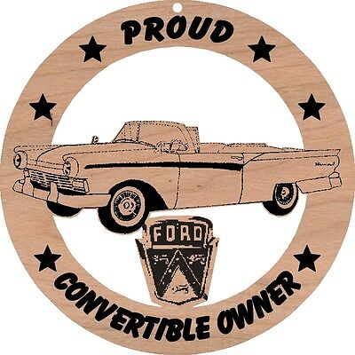 1957 Ford Fairlane Convertible Wood Ornament Engraved