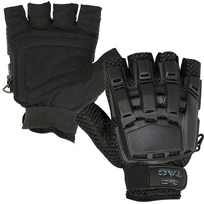 New Valken Paintball Airsoft Half Finger Gloves Protection Black - XLarge/2XL