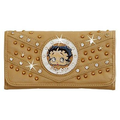 Betty Boop Rhinestone Wallet by Sharon Purse Handbag Beige KFW-4004