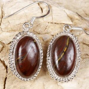 925-Sterling-Silver-TIGER-IRON-Oval-EARRINGS-40mm