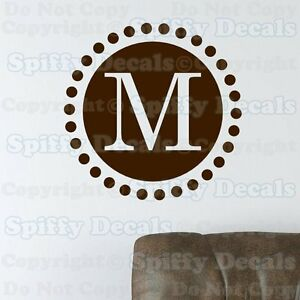 custom circle initial monogram lettering vinyl wall decal sticker