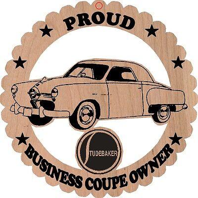 1950 Studebaker 3 Passenger Business Coupe Wood Ornament Engraved