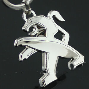 3D-Peugeot-Keychain-Honed-Silver-Tone-Polished-Keyring-Car-Part-Collect-Keyfob