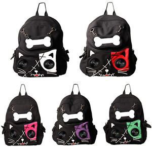 Speaker-Bag-by-Banned-KITTY-Cat-Animal-Rucksack-Backpack-Emo-Gothic-Plug-Play