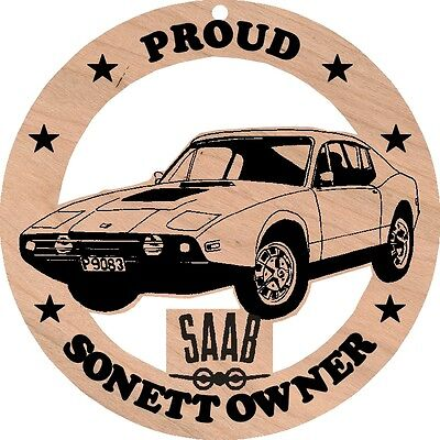 Saab Sonett Iii Wood Ornament Engraved