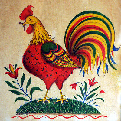Art Rooster Colorful Mural Ceramic Backsplash Decor Flower Tile #2001