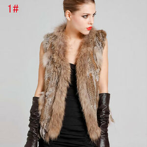 Real-Casual-Knitted-Rabbit-Fur-Waistcoat-Vest-Gilet-with-Raccoon-Collar-Tassel