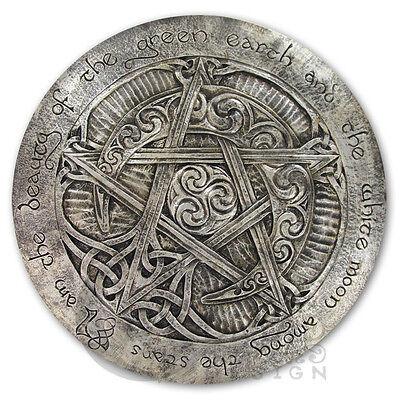 Large Moon Pentacle Plaque | Silver Finish | Dryad Design Pagan Wicca Pentagram