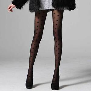 POLKA-DOT-PANTYHOSE-see-through-tights-patterned-black-ivory-gray-see-thru-women