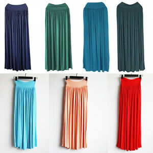 New-Lady-BOHO-Pleated-Vintage-Long-Elastic-Waist-Band-Long-Maxi-Dress-Skirts-Krh