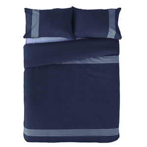 The Laundry LAWSON Navy Blue Striped KING Quilt Doona Cover Set New REVERSIBLE