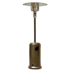 Hammered-Bronze-Outdoor-Patio-Heater-Propane-LP-Gas-Garden-Deck-Tall-Golden