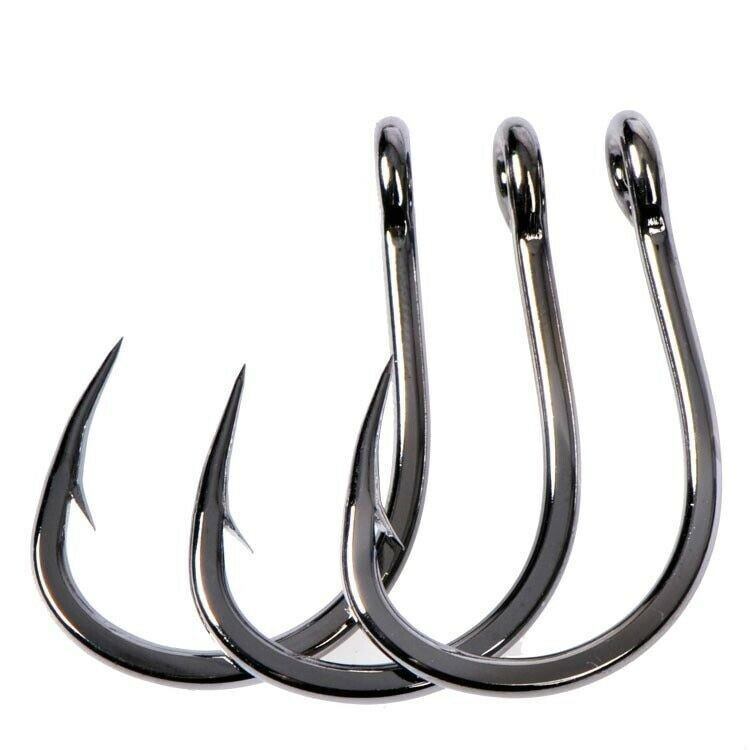 Details about Mustad Hooks 1#-12/0# Deep Ocean Fishing 4x Strong Hook Live  Bait Barbed Iron