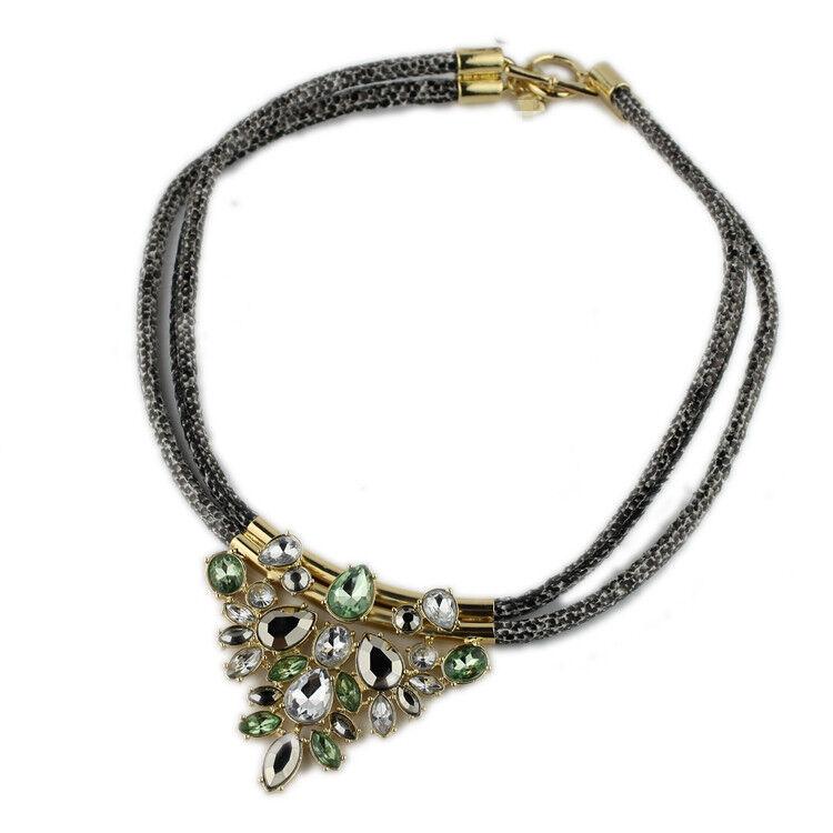 "New 18"" Banana Republic Resin Cord Chain Pendant Necklace Gift Fashion Jewelry"