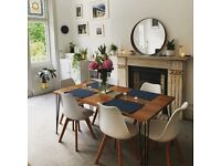 Handcrafted table, desk, coffee table and benches with vintage hairpin legs