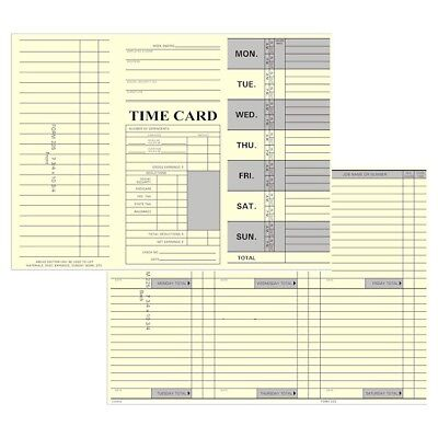 125 Count Tri-Fold Job / Time Cards for Right-Side Printing Time Clocks