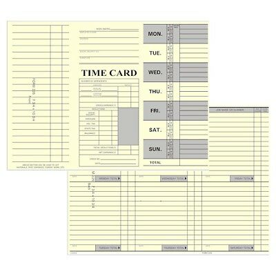 125 Count Tri-fold Job Time Cards For Right-side Printing Time Clocks