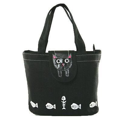 Kitty Cat Black Tote Bag Canvas Zip