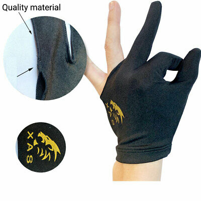 Spandex Snooker Billiard Cue Glove Pool Left Hand Three Finger Accessory Black