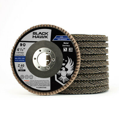 "10 Pack 4.5"" x 7/8"" Black Hawk 40 Grit Zirconia Flap Disc Grinding Wheels T27"