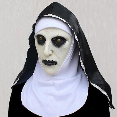 Halloween Horror Masks Scary (The Horror Scary Nun Latex Mask w/Headscarf Valak Cosplay for Halloween)