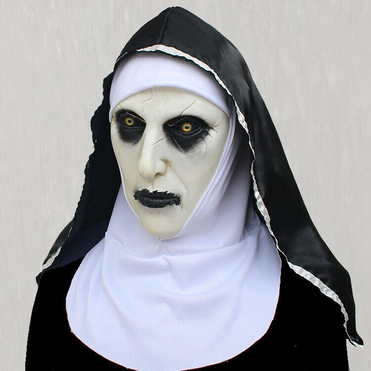 The Horror Scary Nun Latex Mask w/Headscarf Valak Cosplay for Halloween Costume Accessories
