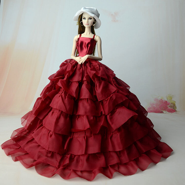 Fashion Royalty Princess Dress/Clothes/Gown+Hat For Barbie Doll S544