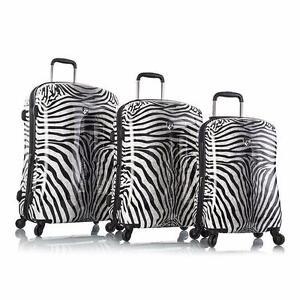 """Heys Zebra Equus Fashion Spinner 3pc Set Polycarbonate Luggage Set - 30"""", 26"""" & 21"""""""