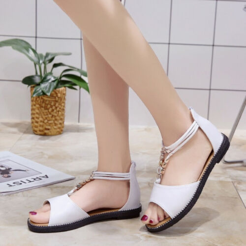 Details about Women's Bohemia Flats Roman Sandals Peep Toe Ankle Strap Summer Beach Shoes New